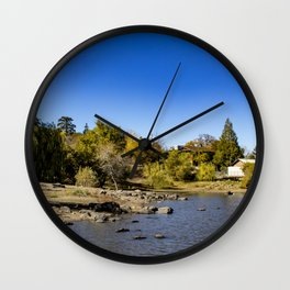 Beautiful Fall Colors Lining the Lake with a Boat Dock at Lake Cuyamaca, California Wall Clock
