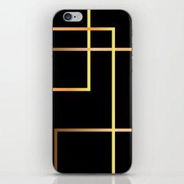 gold geometric line on blkack background iPhone Skin