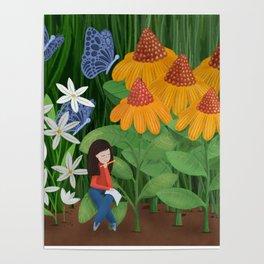 Drawing in he garden Poster