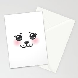 Kawaii funny albino animal white muzzle with pink cheeks and big black eyes Stationery Cards