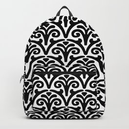 Floral Scallop Pattern Black and White Backpack