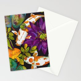 Purple Lily and Koi Fish Stationery Cards