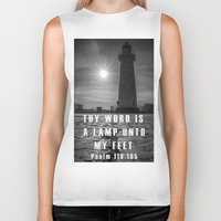 bible Biker Tanks featuring Bible verse - Donaghadee Lighthouse by cmphotography