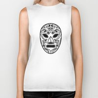wrestling Biker Tanks featuring Mexican Wrestling Mask by T-SIR | Oscar Postigo
