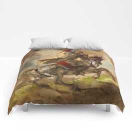 "Eugène Delacroix ""Cavalier Arabe Galopant"" Comforters"