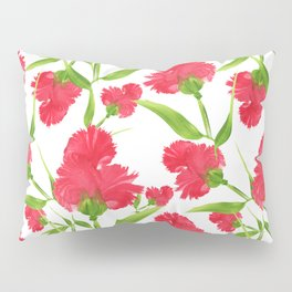 Watercolor Red Flowers Pillow Sham