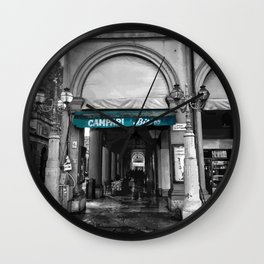 Black and White Bologna Street Photography Vector Green Wall Clock