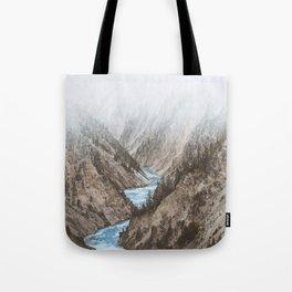 Mountain blue river Tote Bag