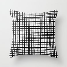 Essie - Grid, Black and White, BW, grid, square, paint, design, art Throw Pillow