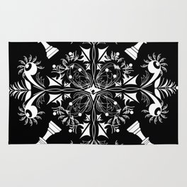 White Chess Inspired Queenly Motif Rug