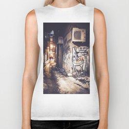 Lower East Side - Midnight Warmth on a Snowy Night Biker Tank