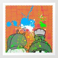 cartoons Art Prints featuring Cartoons and Cereal by Kerosene Bill