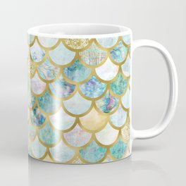 Mermaid Scales Pattern in Green and Gold Coffee Mug
