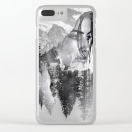 Lady Wild Horse Clear iPhone Case