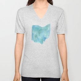 Watercolor State Map - Ohio OH blue green Unisex V-Neck