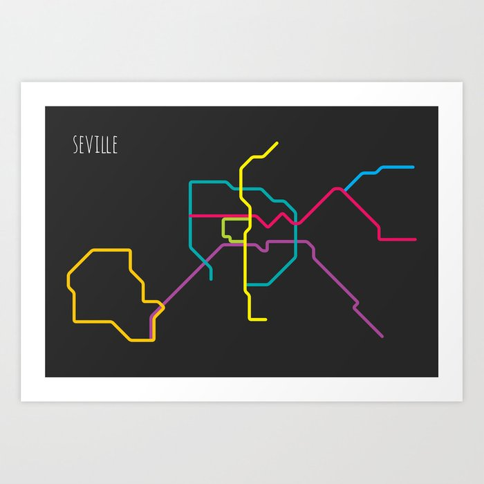 Seville Subway Map.Seville Metro Map Art Print By Sunday