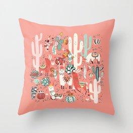 Lama in cactus jungles Throw Pillow