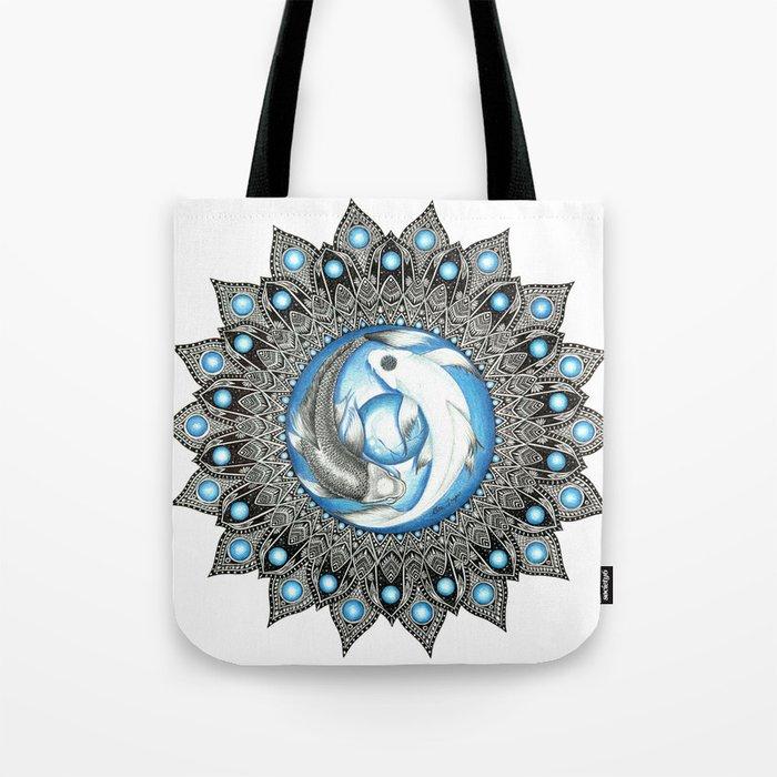 Yin and Yang Butterfly Koi Fish Mandala Tote Bag
