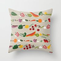 vegetarian Throw Pillows featuring Vegetarian pattern by Darish