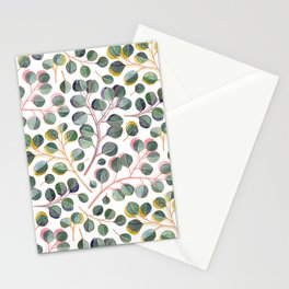 Simple Silver Dollar Eucalyptus Leaves Stationery Cards