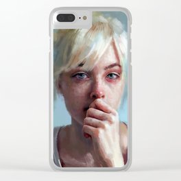 crying portrait Clear iPhone Case