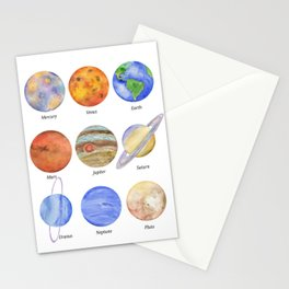 Solar System Planets Watercolor Stationery Cards