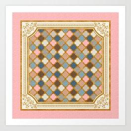 Regal Quatrefoil in Blush Pink and Gold Art Print