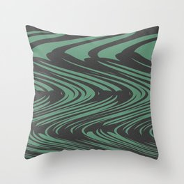 Moss Green and Black Optical Flow Print Throw Pillow
