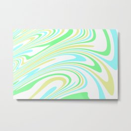 Blue, Yellow, and Green Waves 2 Metal Print