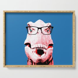 Geek T-Rex with Blue Background Serving Tray