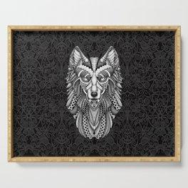 White Wolf Aztec Pattern Serving Tray
