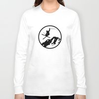 skiing Long Sleeve T-shirts featuring Skiing by Paul Simms