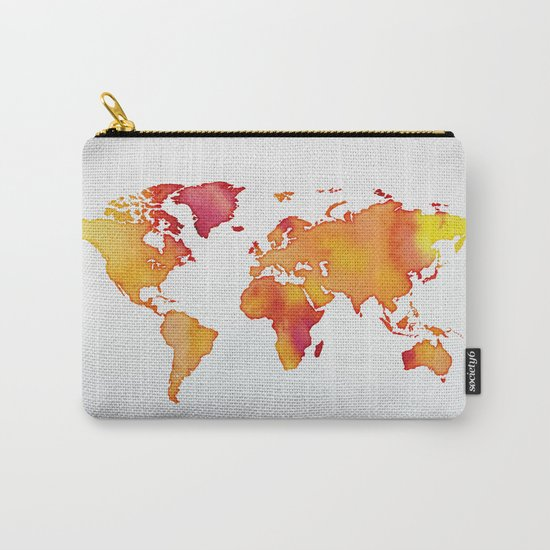 Orange World Map Carry-All Pouch