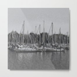 Sailboats In The Harbour I Metal Print