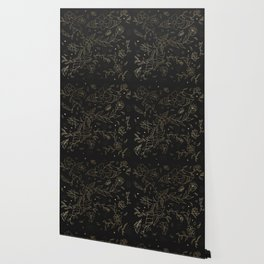 Gold foil floral pattern and geometric triangles on grey Wallpaper
