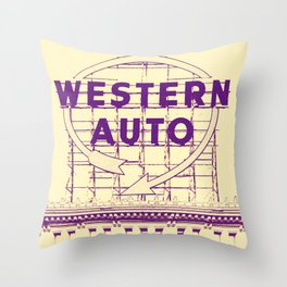 Western Auto Neon Sign In Downtown Kansas City Throw Pillow