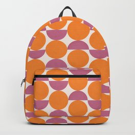 Vintage Mid-century Modern Abstract Geometric Balancing Shapes in Violet Purple and Tangerine Orange Backpack