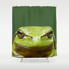It's not Easy Being Green! (Tree Frog Close up) Shower Curtain
