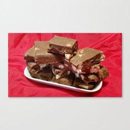 Cherry Chocolate Marshmallow Fudge On A Plate Canvas Print