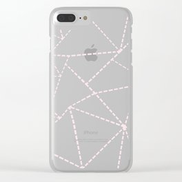 Ab Dotted Lines Pink on Blue Clear iPhone Case