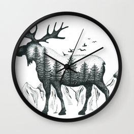 Mountain Moose Wall Clock