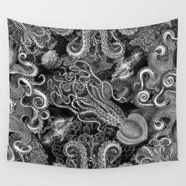 The Kraken (Black & White, Square, Alt) Wall Tapestry