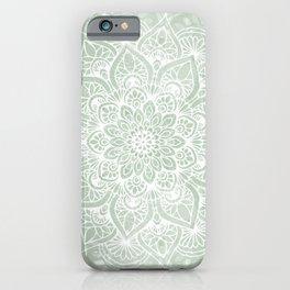 Mandala, Yoga Love, Sage Green, Boho Print iPhone Case
