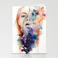 sad Stationery Cards featuring this thing called art is really dangerous by agnes-cecile