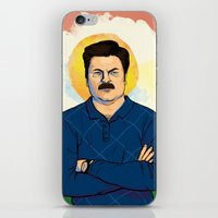 ron swanson iPhone & iPod Skins featuring Ron Swanson by Sayada Ramdial
