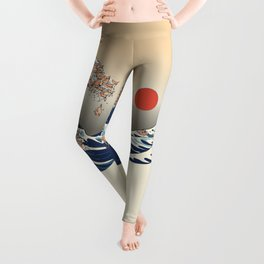 The Great Wave of Chihuahua Leggings