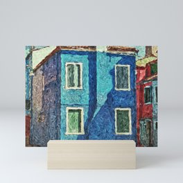 Burano blue house Mini Art Print