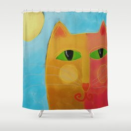 Orange Cat and Sun Abstract Digital Cat Painting Shower Curtain
