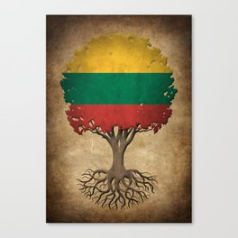 Vintage Tree of Life with Flag of Lithuania Canvas Print