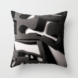 Shadow of Foam Abstract Two in Black and White Throw Pillow